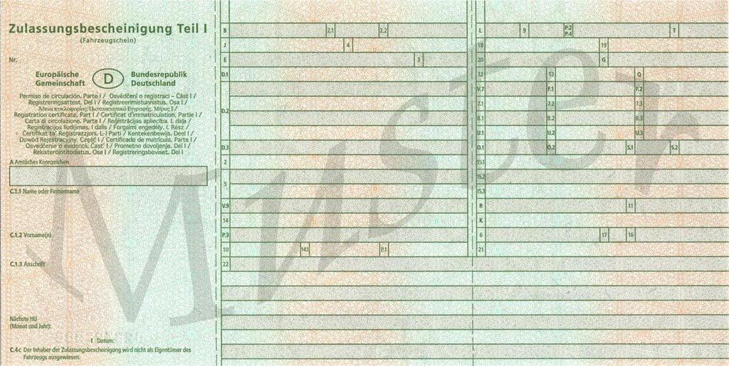 Im neuen Fahrzeugschein (Zulassungsbescheinigung Teil 1) finden Sie die Angaben zur richtigen Reifengröße im Feld 15