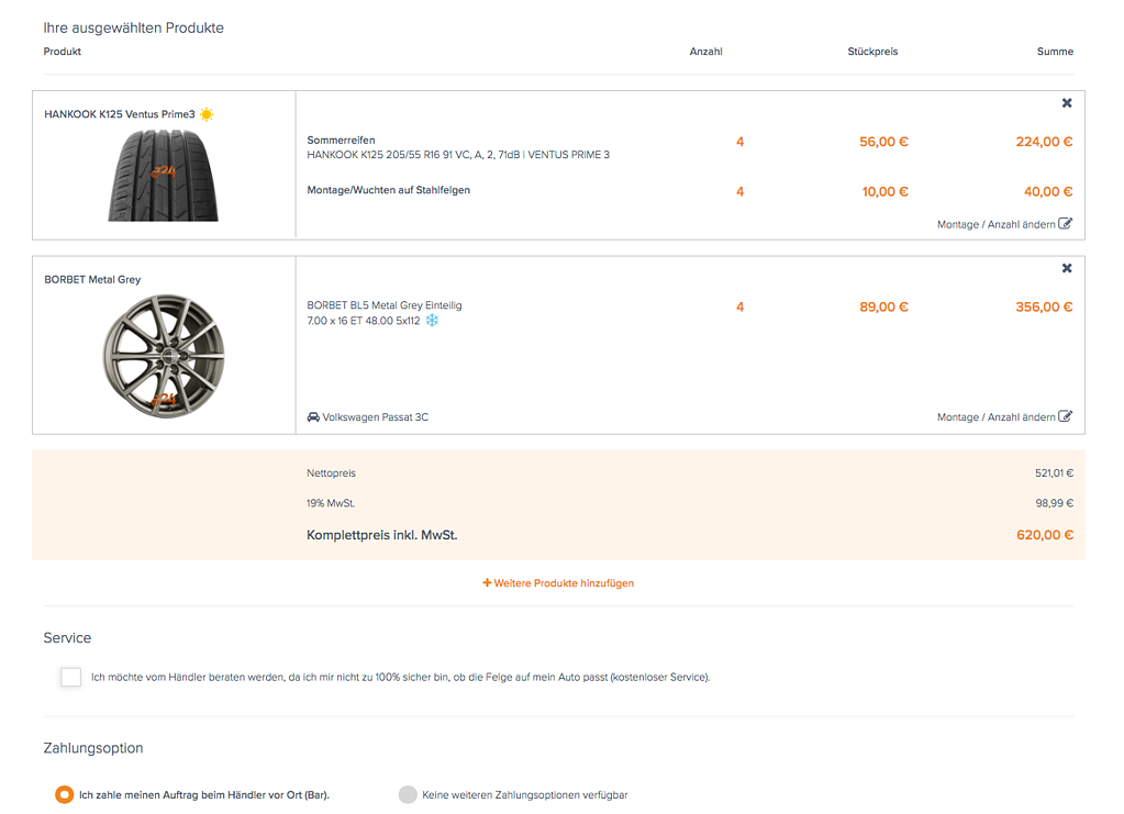 Reifen-vor-Ort Warenkorbfunktion Screen2.png