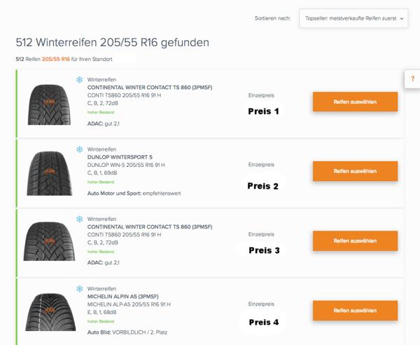 In der Winterreifen-Suche auf reifen-vor-ort.de lassen sich Preise und Testergebnisse schnell vergleichen